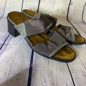 Naot Chunk Sandal with Gray Fabric Straps 9.5
